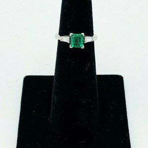 Platinum Ladies Colombian Emerald and Diamond Ring